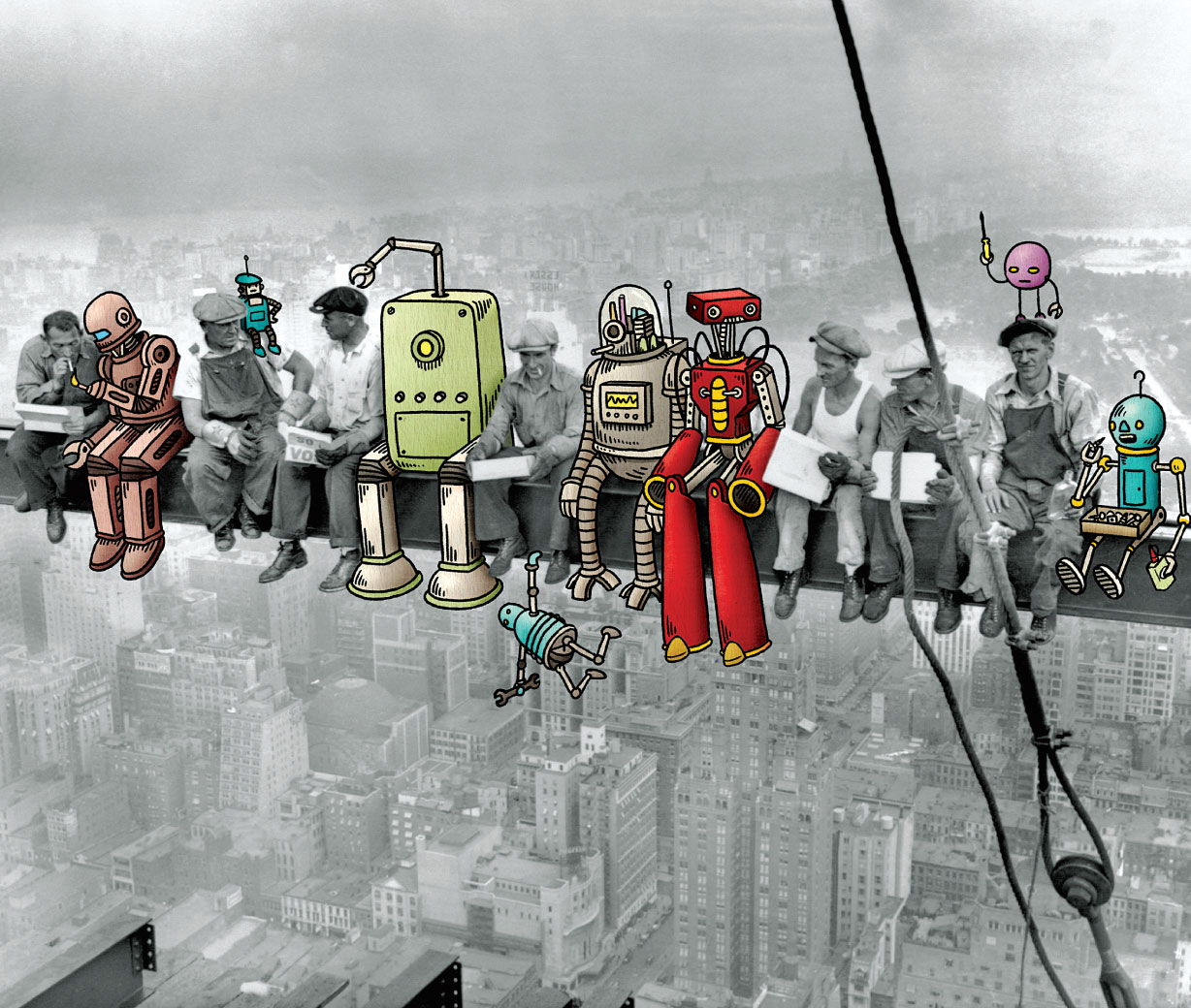 Lunch at skyscraper with robots